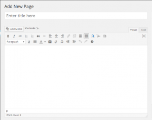 Add a Page window in WordPress