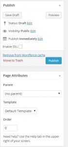 WordPress page publishing and layout options