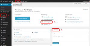 WordPress dashboard add a post