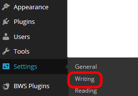 select writing from sub-menu